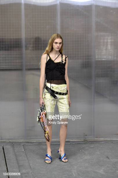 Model walks the runway during the Ottolinger show as part of Paris Fashion Week Womenswear Spring/Summer 2019 on September 25, 2018 in Paris, France.