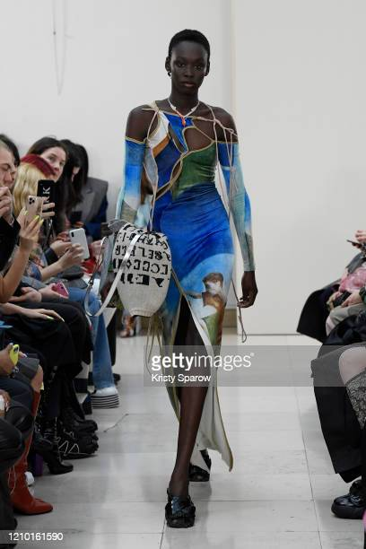 Model walks the runway during the Ottolinger show as part of Paris Fashion Week Womenswear Fall/Winter 2020/2021 on February 25, 2020 in Paris,...