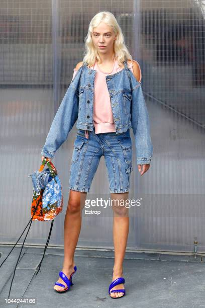 Models walk the runway during the Ottolinger show as part of Paris Fashion Week Womenswear Spring/Summer 2019 on September 25 2018 in Paris France