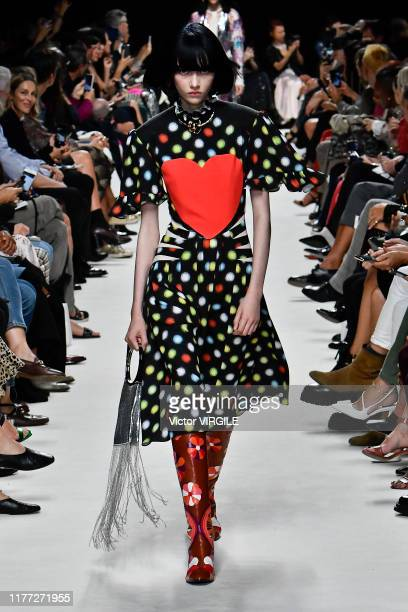 Model walks the runway during the Paco Rabanne Ready to Wear Spring/Summer 2020 fashion show as part of Paris Fashion Week on September 26, 2019 in...