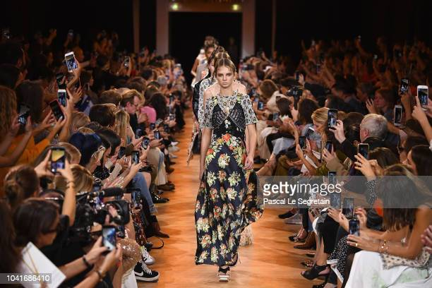 A model walks the runway during the Paco Rabanne show as part of the Paris Fashion Week Womenswear Spring/Summer 2019 at Grand Palais on September 27...