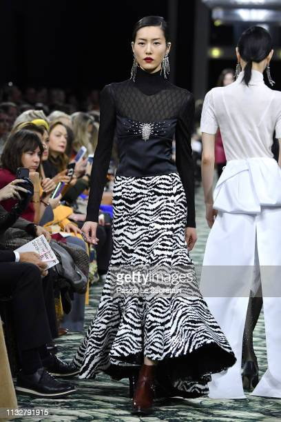 A model walks the runway during the Paco Rabanne show as part of the Paris Fashion Week Womenswear Fall/Winter 2019/2020 on February 28 2019 in Paris...