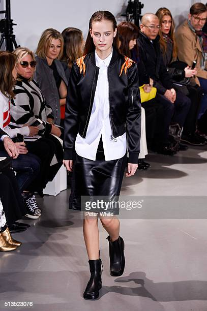 A model walks the runway during the Paco Rabanne show as part of the Paris Fashion Week Womenswear Fall/Winter 2016/2017 on March 3 2016 in Paris...