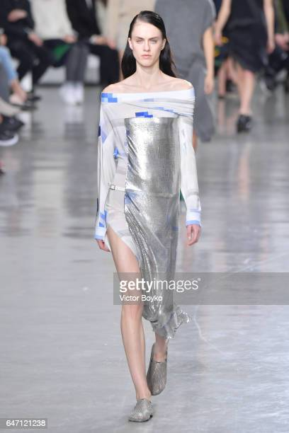 A model walks the runway during the Paco Rabanne show as part of the Paris Fashion Week Womenswear Fall/Winter 2017/2018 on March 2 2017 in Paris...