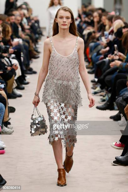Model walks the runway during the Paco Rabanne show as part of the Paris Fashion Week Womenswear Fall/Winter 2018/2019 on February 28, 2018 in Paris,...