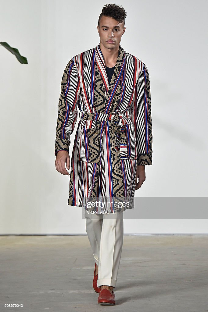 A model walks the runway during the Palmiers du Mal fashion show during New York Fashion Week Men's Fall/Winter 2016 on February 3, 2016 in New York City.