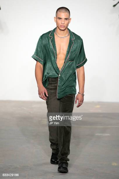 A model walks the runway during the Palmiers Du Mal Runway at Skylight Clarkson North on February 1 2017 in New York City