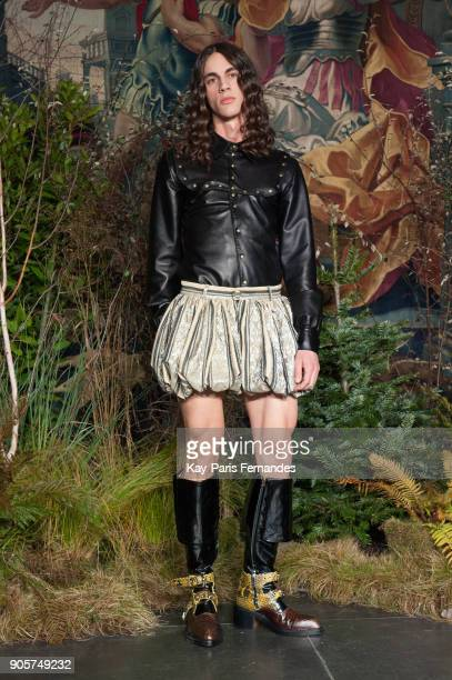 A model walks the runway during the Palomo Spain Menswear Fall/Winter 20182019 show as part of Paris Fashion Week on January 16 2018 in Paris France
