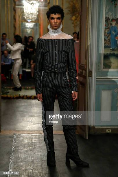 A model walks the runway during the Palomo Spain Menswear Spring/Summer 2018 show as part of Paris Fashion Week on June 21 2017 in Paris France