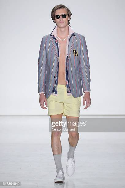 A model walks the runway during the Parke Ronen Spring 2017 show at Skylight Clarkson Sq on July 14 2016 in New York City