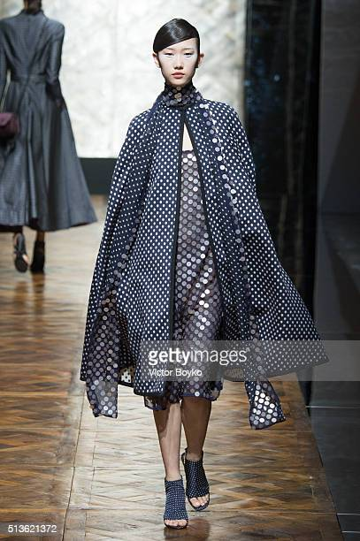 A model walks the runway during the Pascal Millet show as part of the Paris Fashion Week Womenswear Fall/Winter 2016/2017 on March 3 2016 in Paris...