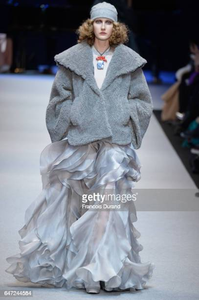 A model walks the runway during the Pascal Millet show as part of the Paris Fashion Week Womenswear Fall/Winter 2017/2018 on March 2 2017 in Paris...