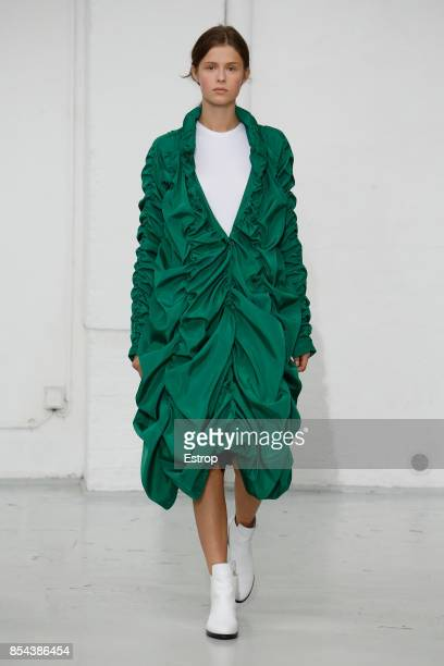 A model walks the runway during the Paskal show as part of the Paris Fashion Week Womenswear Spring/Summer 2018 on September 26 2017 in Paris France