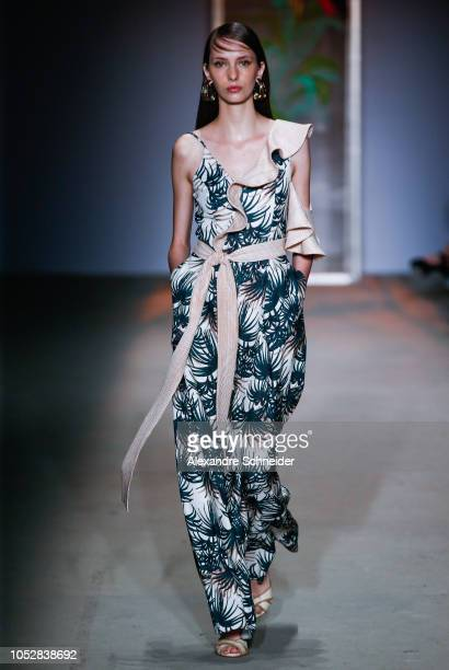 A model walks the runway during the PatBo fashion show during Sao Paulo Fashion Week N46 Winter 2019 at Arca on October 23 2018 in Sao Paulo Brazil