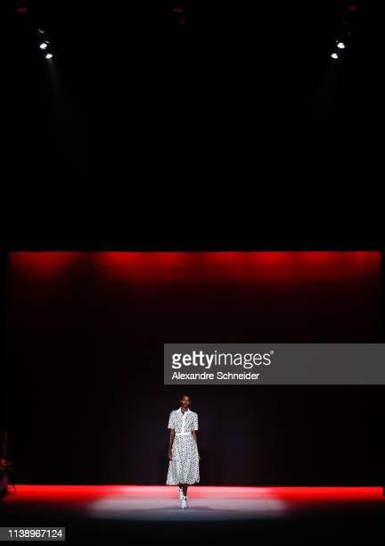 A model walks the runway during the Patricia Vieira fashion show during Sao Paulo Fashion Week N47 Summer 2020 at Arca on April 23 2019 in Sao Paulo...