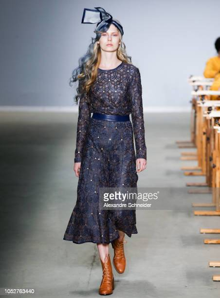 A model walks the runway during the Patricia Viera fashion show during Sao Paulo Fashion Week N46 Winter 2019 at Arca on October 22 2018 in Sao Paulo...