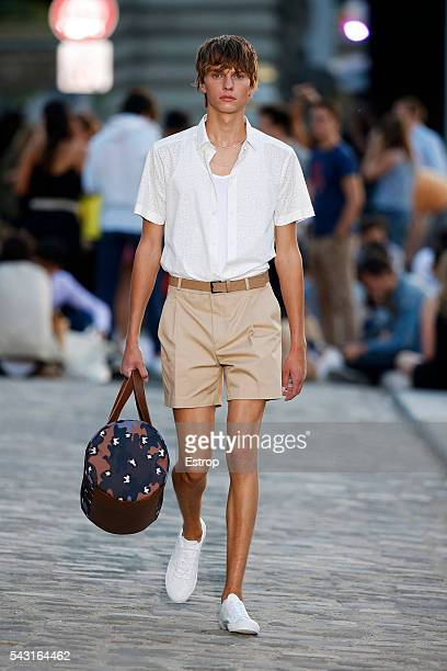 Model walks the runway during the Paul & Joe Menswear Spring/Summer 2017 show designed by Sophie Albou as part of Paris Fashion Week on June 24, 2016...