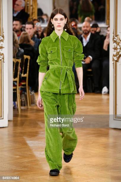 A model walks the runway during the Paul Joe Paris show during Paris Fashion Week Womenswear Fall/Winter 2017/2018 on March 7 2017 in Paris France