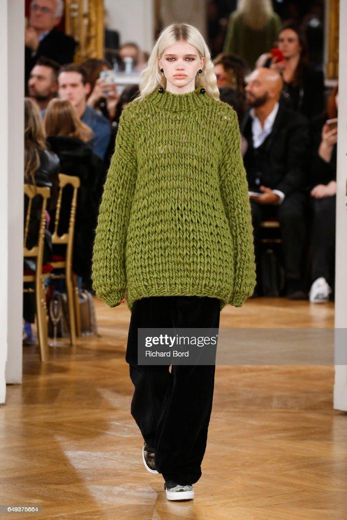 A model walks the runway during the Paul & Joe Paris show during Paris Fashion Week Womenswear Fall/Winter 2017/2018 on March 7, 2017 in Paris, France.