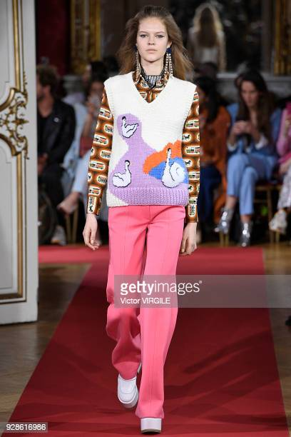 A model walks the runway during the Paul Joe Ready to Wear fashion show as part of the Paris Fashion Week Womenswear Fall/Winter 2018/2019 on March 6...