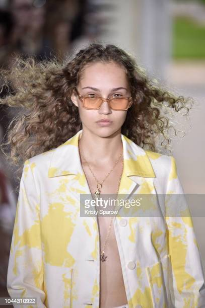Model walks the runway during the Paul & Joe show as part of Paris Fashion Week Womenswear Spring/Summer 2019 on September 30, 2018 in Paris, France.