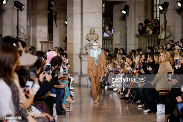 Model walks the runway during the Paul & Joe show as part of the Paris Fashion Week Womenswear Fall/Winter 2019/2020 on March 03, 2019 in Paris,...