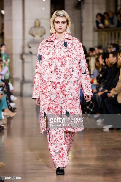 A model walks the runway during the Paul Joe show as part of the Paris Fashion Week Womenswear Fall/Winter 2019/2020 on March 03 2019 in Paris France