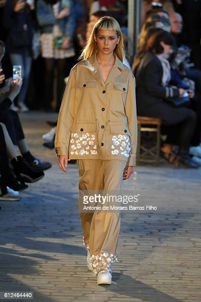 Model walks the runway during the Paul & Joe show as part of the Paris Fashion Week Womenswear Spring/Summer 2017 on October 4, 2016 in Paris, France.