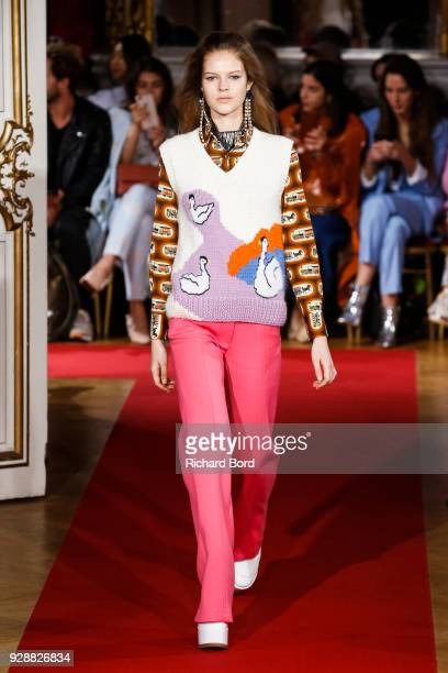 A model walks the runway during the Paul Joe show as part of the Paris Fashion Week Womenswear Fall/Winter 2018/2019 on March 06 2018 in Paris France