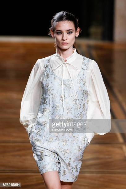 A model walks the runway during the Paul Joe show at Palais des beaux Arts as part of Paris Fashion Week Womenswear Spring/Summer 2018 on October 3...