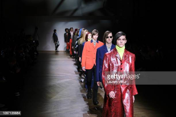 Model walks the runway during the Paul Smith Menswear Fall/Winter 2019-2020 show as part of Paris Fashion Week on January 20, 2019 in Paris, France.