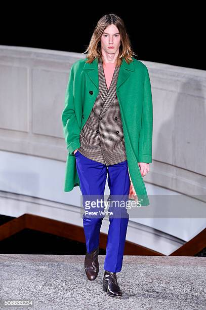 A model walks the runway during the Paul Smith Menswear Fall/Winter 20162017 show as part of Paris Fashion Week on January 24 2016 in Paris France