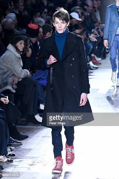 A model walks the runway during the Paul Smith Menswear Fall/Winter 20172018 show as part of Paris Fashion Week on January 22 2017 in Paris France
