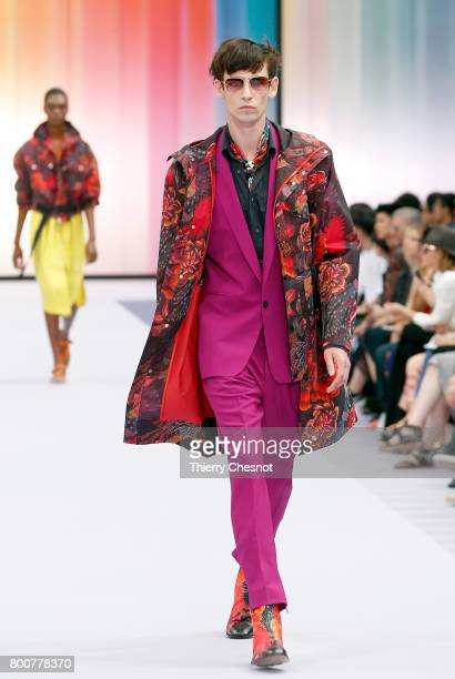 Model walks the runway during the Paul Smith Menswear Spring/Summer 2018 show as part of Paris Fashion Week on June 25, 2017 in Paris, France.