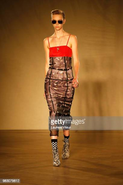 Model walks the runway during the Paul Smith Menswear Spring/Summer 2019 show as part of Paris Fashion Week on June 24, 2018 in Paris, France.
