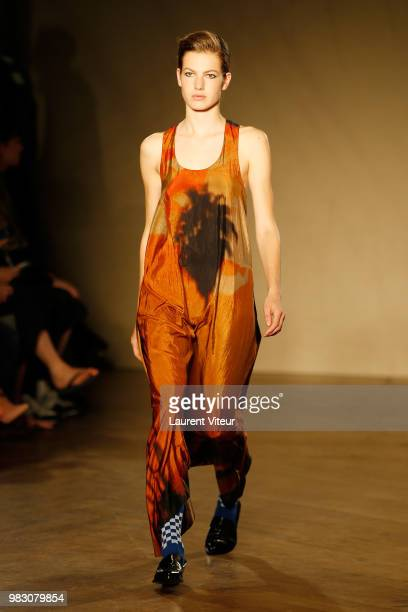 A model walks the runway during the Paul Smith Menswear Spring/Summer 2019 show as part of Paris Fashion Week on June 24 2018 in Paris France