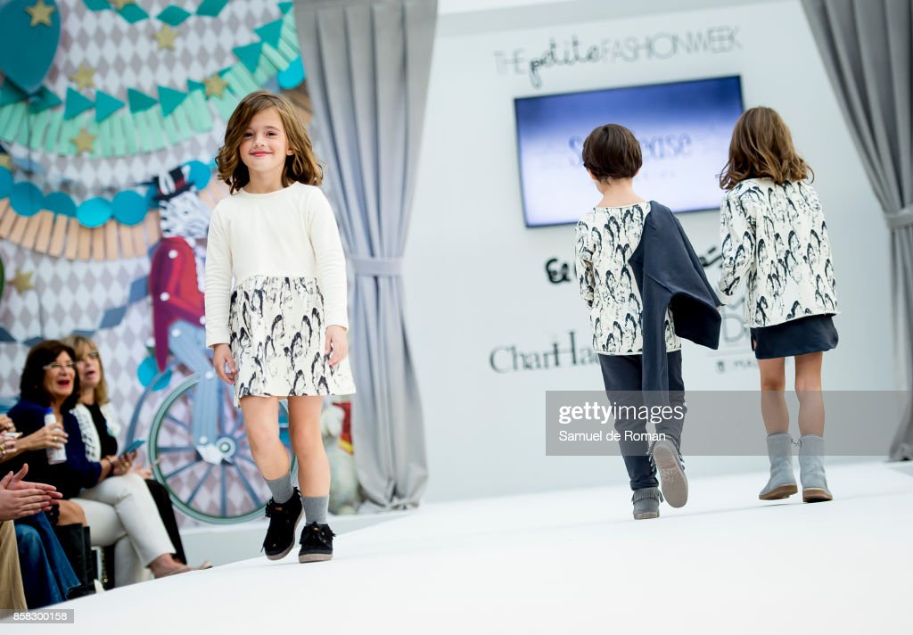 Model walks the runway during 'The Petite Fashion Week' at the Cibeles Palace on October 6, 2017 in Madrid, Spain.