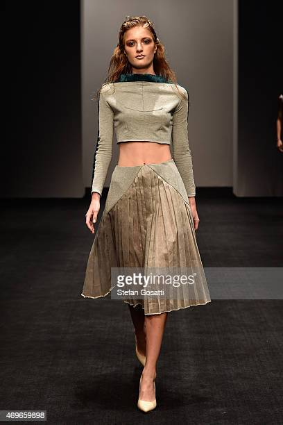 A model walks the runway during the Phoenix Keating show at MercedesBenz Fashion Week Australia 2015 at Carriageworks on April 14 2015 in Sydney...