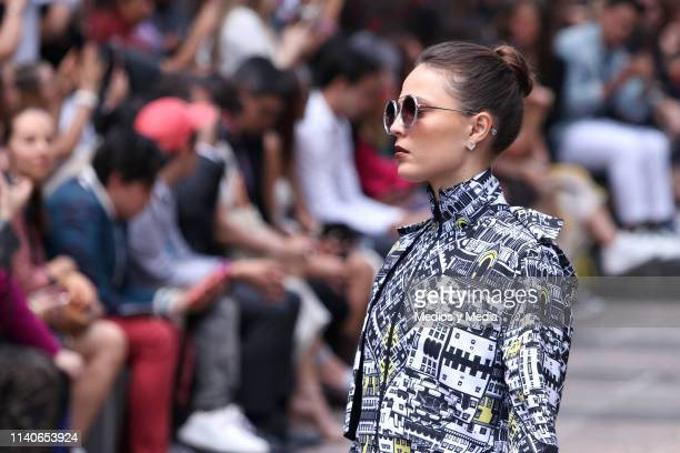 A model walks the runway during the Pineda Covalin show as part of the MercedesBenz Fashion Week Mexico Fall/Winter 2019 Day 5 at Bosque de...