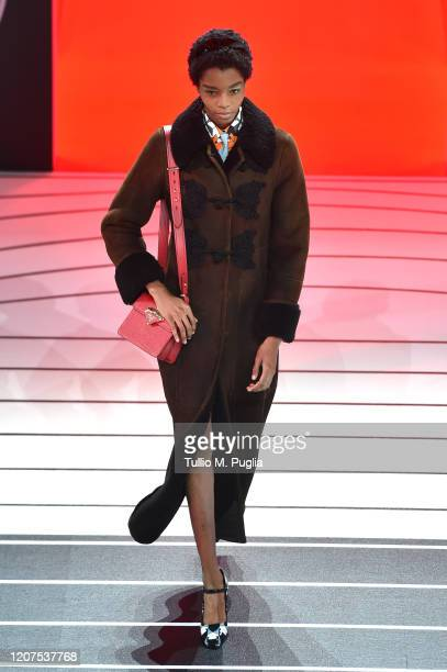 A model walks the runway during the Prada fashion show as part of Milan Fashion Week Fall/Winter 20202021 on February 20 2020 in Milan Italy