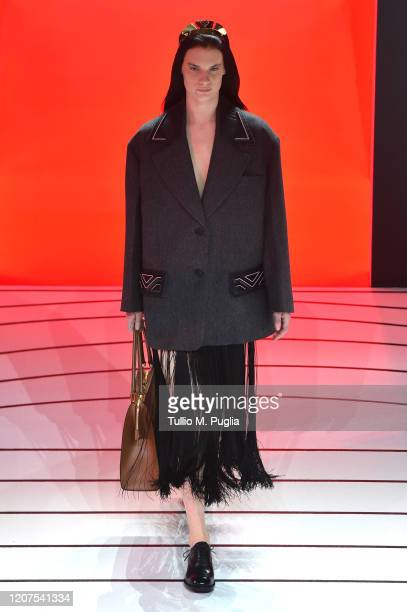 Model walks the runway during the Prada fashion show as part of Milan Fashion Week Fall/Winter 2020-2021 on February 20, 2020 in Milan, Italy.