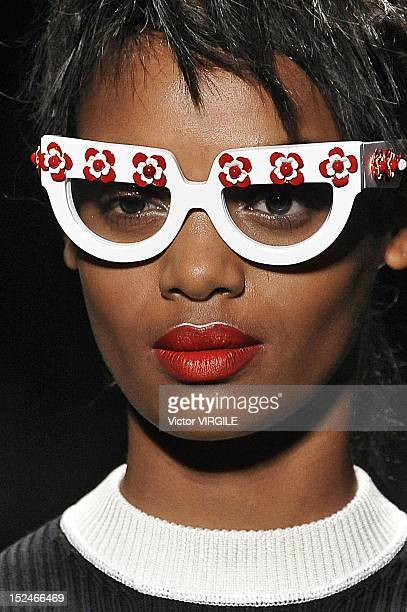 A model walks the runway during the Prada show as a part of Milan Fashion Week Womenswear S/S 2013 on September 20 2012 in Milan Italy