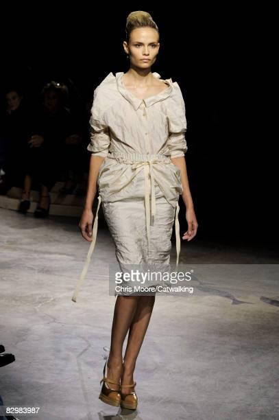 Model walks the runway during the Prada show part of Milan Fashion Week Spring/Summer 2009 on September 23,2008 in Milan,Italy.