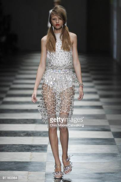 Model walks the runway during the Prada Spring Summer 2010 Ready To Wear show as part of the Milan Womenswear Fashion Week Spring/Summer 2010 at on...