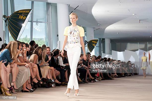 Model walks the runway during the Preen by Thornton Bregazzi Spring 2012 fashion show during Mercedes-Benz Fashion Week at IAC Building on September...