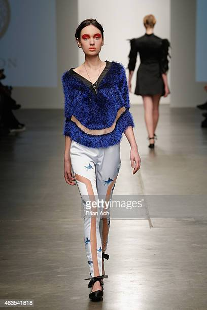Model walks the runway during the Prieston show at the Nolcha Fashion Week New York Fall Winter Collections 2015/2016 during NY Fashion Week at Pier...