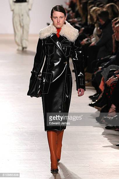 A model walks the runway during the Proenza Schouler fashion show at the Whitney Art Museum on February 17 2016 in New York City