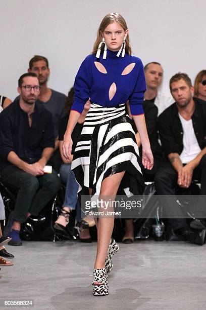 Model walks the runway during the Proenza Schouler fashion show at The Whitney Museum of American Art on September 12, 2016 in New York City.