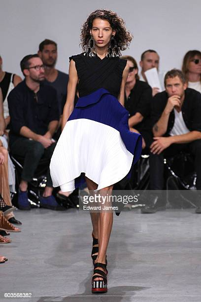 A model walks the runway during the Proenza Schouler fashion show at The Whitney Museum of American Art on September 12 2016 in New York City