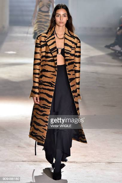 A model walks the runway during the Proenza Schouler Ready To Wear Fall Winter 2018 show as part of Paris Fashion Week on January 22 2018 in Paris...